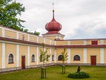 Green courtyard of Horni Hedec Monastery Stock Photo