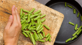 Green cow pea for cooking and health on the pan. Royalty Free Stock Photography