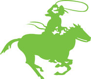 Green Cowboy. Lasso On Horse Royalty Free Stock Image