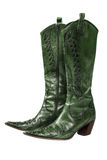 Green cowboy boots. Isolated on a white background royalty free stock image