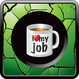 Green cracked web button with coffee mug Stock Photography