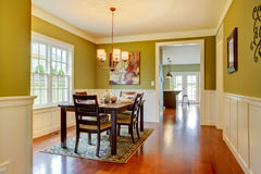 Green craftsman large dining room. Stock Images