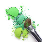 Green crashed eyeshadow for make up as sample of cosmetic product Stock Image