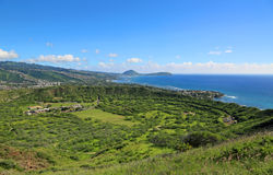 Green crater of Diamond Head Royalty Free Stock Photos