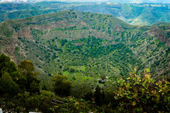 Green crater at Gran Canaria. Viewed from above royalty free stock image