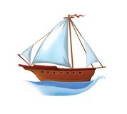 Sailing boat with white sails . Isolated realistic Stock Photography