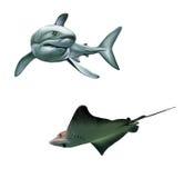 Shark and fish stingray. Isolated realistic illust. Ration on white background Stock Photos
