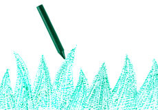 Green crayon with drawn grass Stock Images