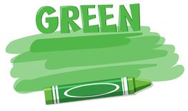 A green crayon on white background. Illustration vector illustration