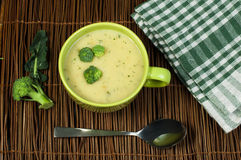 Green Cream broccoli soup Royalty Free Stock Photo