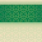 Green and cream classical oriental floral horizontal banner Stock Photos