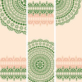 Green and cream oriental henna mandala vertical banners Royalty Free Stock Photo