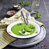 Green cream soup stock images