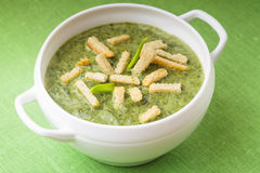Green cream soup Royalty Free Stock Photo