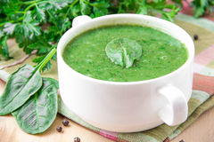 Velvety cream soup of spinach Stock Photography