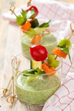 Green cream soup. royalty free stock photo
