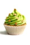 Green creamed sweet cupcake Royalty Free Stock Image