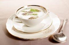 Green creamy asparagus soup in a bowl Royalty Free Stock Photos