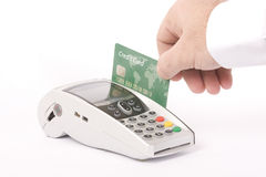 Green Credit card and  machine Royalty Free Stock Photography