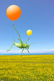 Green cricket and  airballoon. A female green cricket is holding the  airballoon floating in the air Stock Photo