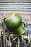 Green Crock for Milk Stock Photography