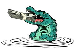 Green crocodile eats money isolate on white background. Green crocodile eats money. isolate on white background. Comic cartoon pop art retro vector illustration vector illustration