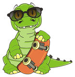 Green crocodile in sunglasses with skate Stock Image