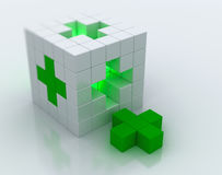 Green cross. White cube green cross symbol Royalty Free Stock Images
