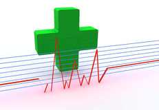 Green cross. Pharmacy symbol green cross with red lines Stock Photography