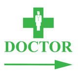 Green cross, arrow and doctor text Royalty Free Stock Photos