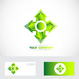 Green cross arrow head logo Stock Photography