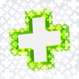 Green cross background. Green double cross crossy lighted background with empty space in the middle Stock Image