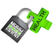 Green cross caught in security closed padlock isolated vector Royalty Free Stock Photo