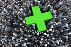 Green cross in city vector illustration