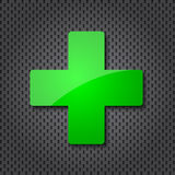 Green cross clean icon. And dotted texture Royalty Free Stock Photos