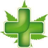 Green cross and marijauna leaf Royalty Free Stock Photo
