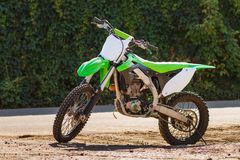 Green Cross Motorcycle. Dirt bike on a photo shoot. Training motocross bike Stock Images