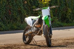 Green Cross Motorcycle. Dirt bike on a photo shoot. Training motocross bike Royalty Free Stock Photos