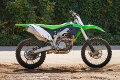 Green Cross Motorcycle. Dirt bike on a photo shoot. Training motocross bike Royalty Free Stock Photo