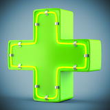 Green cross with neon light Stock Image