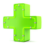 Green cross with neon light Royalty Free Stock Images