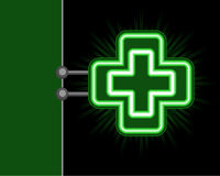 Green cross neon sign Stock Image
