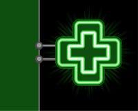 Green cross neon sign royalty free illustration