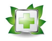 Green cross. Pharmacy icon. Pharmaceutical green cross icon isolated on white background Stock Photos