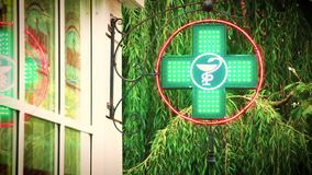 Green Cross Pharmacy Neon Sign of the Medical Organization, Sale of Medicines. stock video