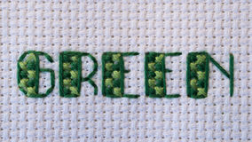 Green cross stitched in green on white Stock Images