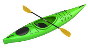 Green crossover kayak with yellow paddle. 3D render, isolated on white background. Royalty Free Stock Image