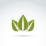 Green crown created from three leaves, vector ecology coronet. E. Co symbol on planetary resources theme Stock Photo