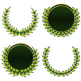 Green crowns. Greens labels and crowns vector and isolated Royalty Free Stock Photography