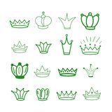 Green Crowns. Tiara. Diadem Sketch crown. Hand drawn queen tiara, king crown. Royal imperial coronation symbols, monarch majestic vector illustration